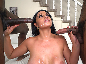 Busty MILF with a huge ass takes on two cocks image 6